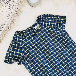 Anthropologie blue and yellow patterned dress